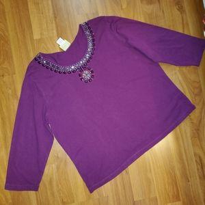Ruby Rd 3/4 sleeve purple embellished blouse XLP